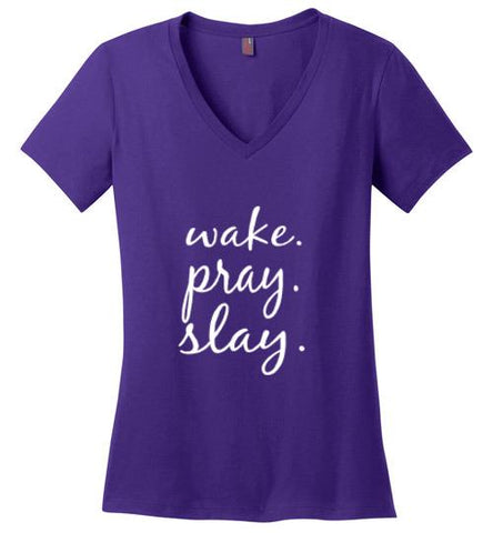 Wake. Pray. Slay. Cotton Jersey V-Neck Tshirt (Purple) | YahWeh
