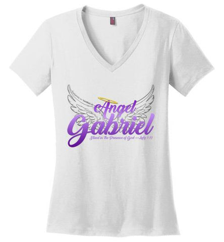 Angel Gabriel Perfect Weight V-Neck T-Shirt (White) | YahWeh.io