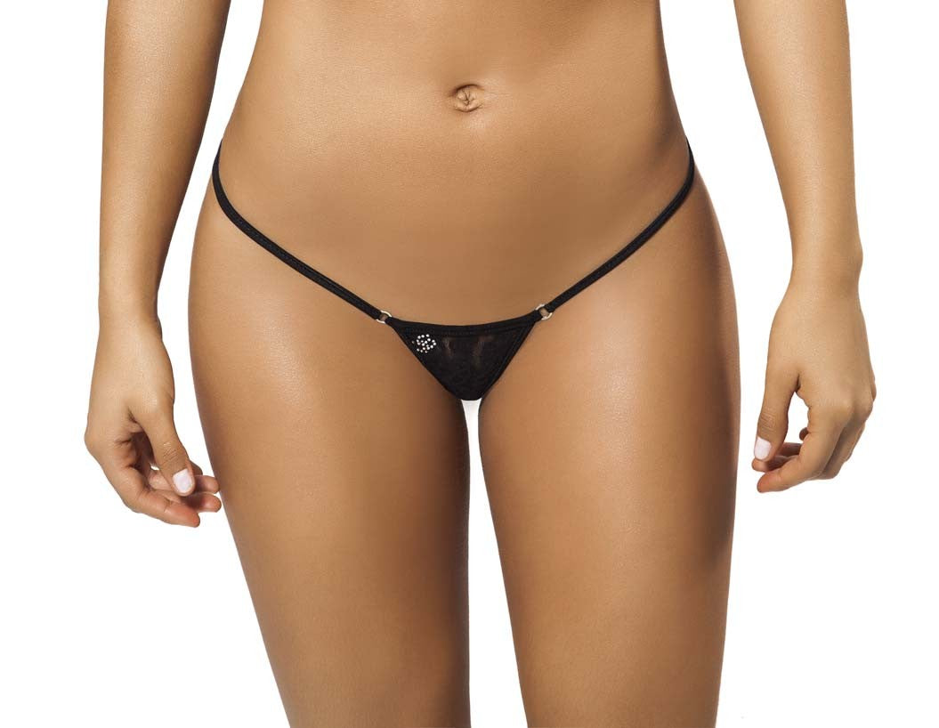 Joe Snyder Women Tinos V-String Black Lace-OS