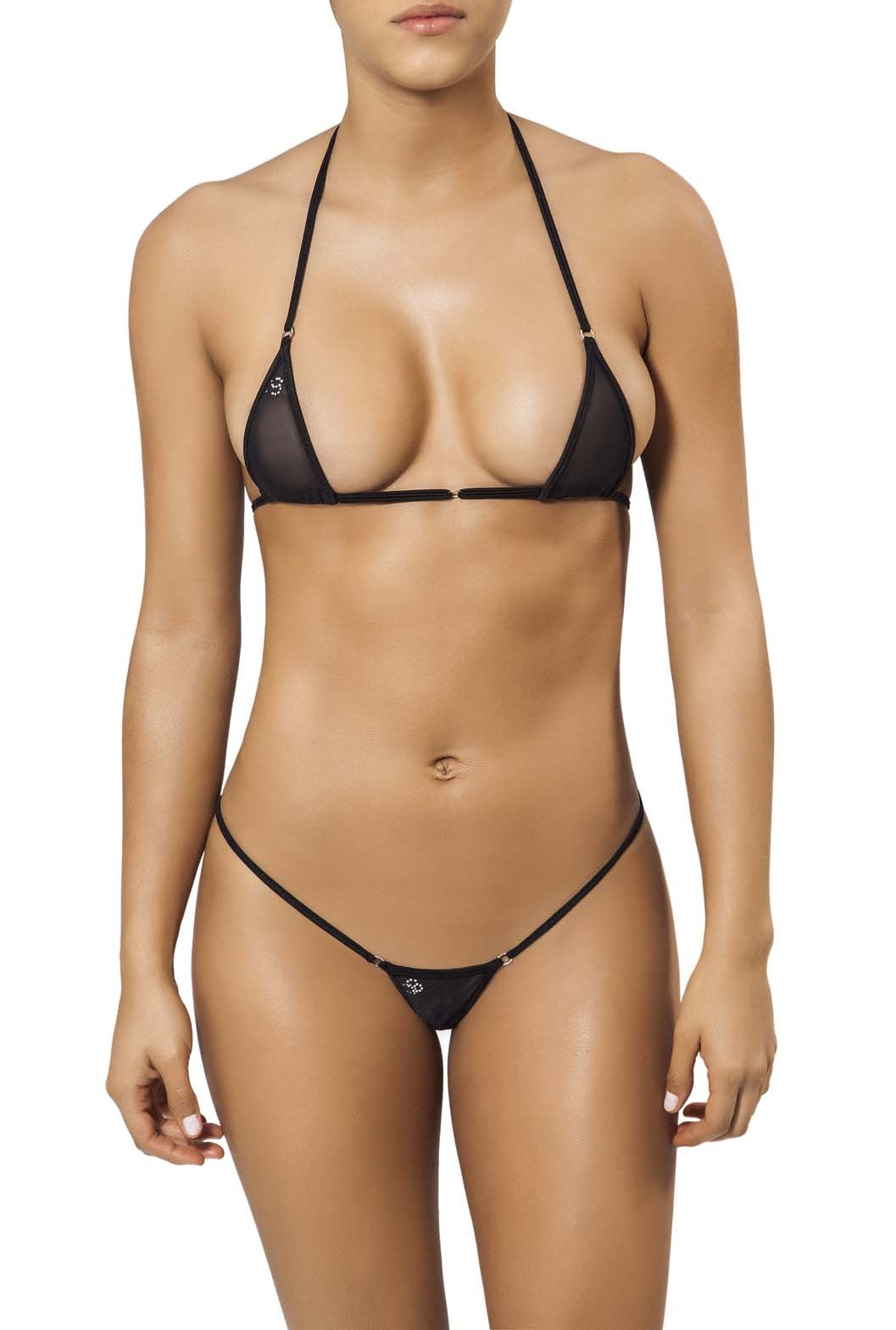 Joe Snyder Women Tinos V-String & Mykonos Top Black Mesh-OS