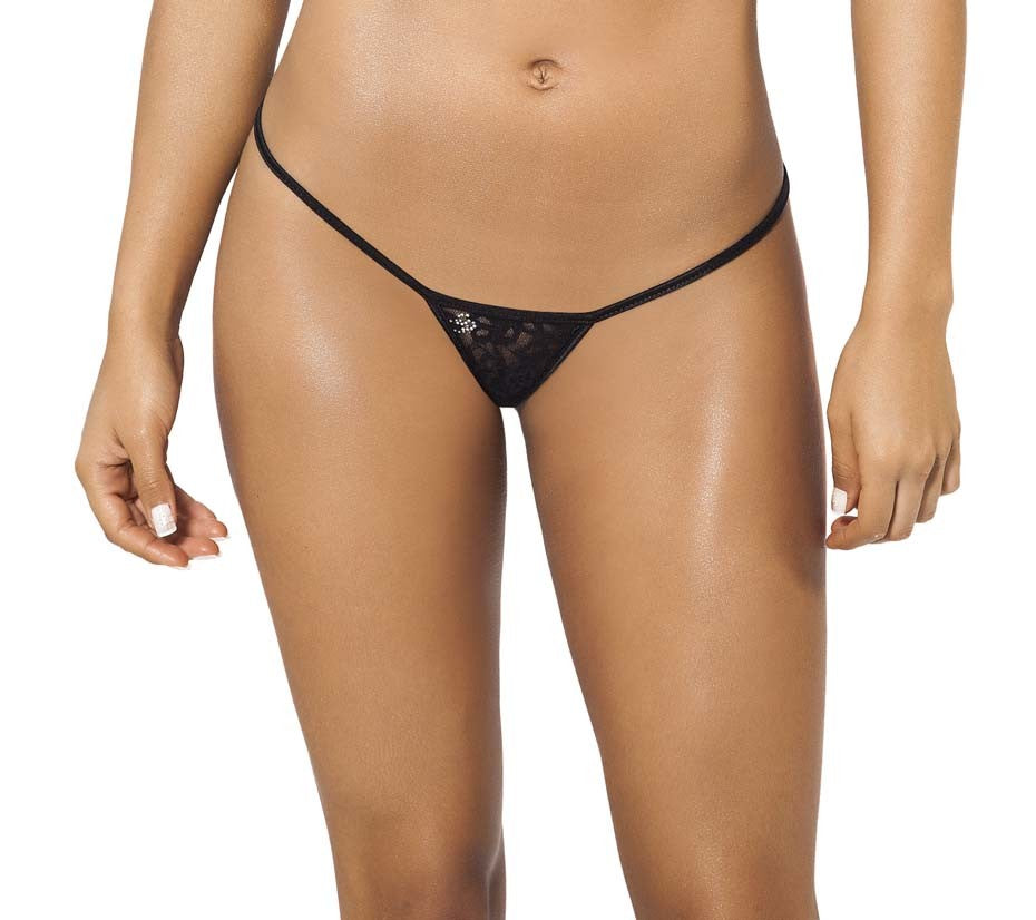 Joe Snyder Women Skyros V-String Black Lace-OS