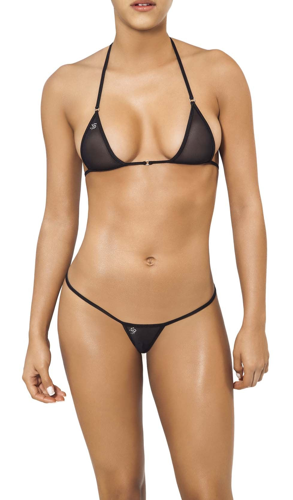 Joe Snyder Women Skyros V-String & Santorini Top Black Mesh-OS