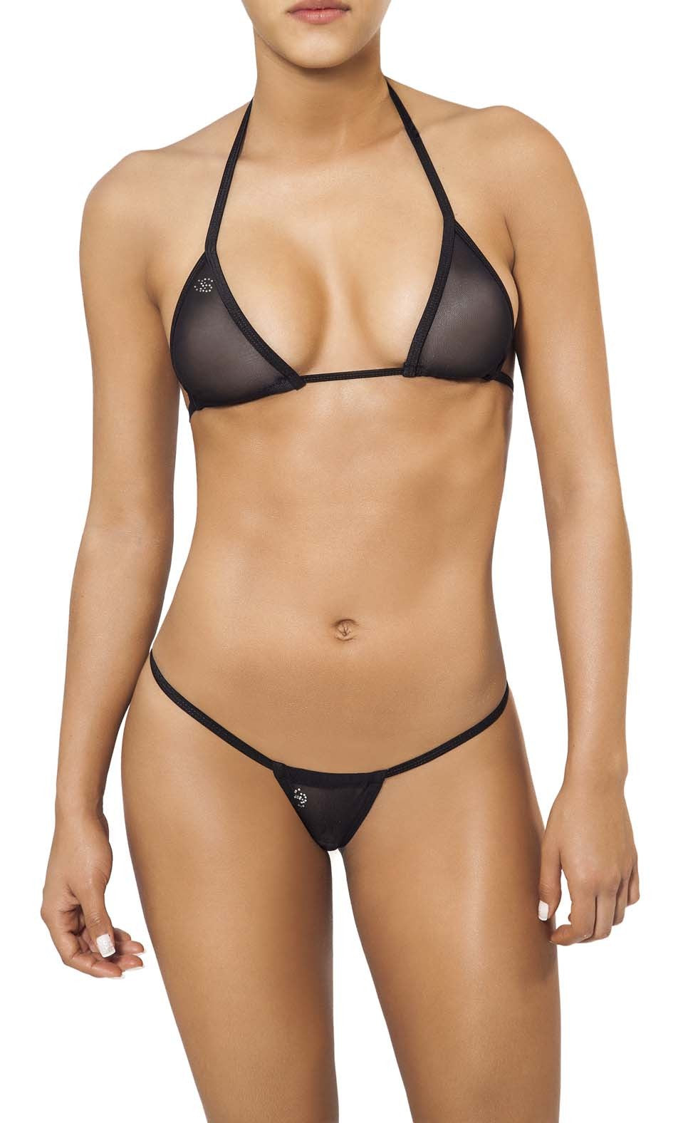 Joe Snyder Women Andros Kini Tanga & Lefkada Top Black Mesh-OS