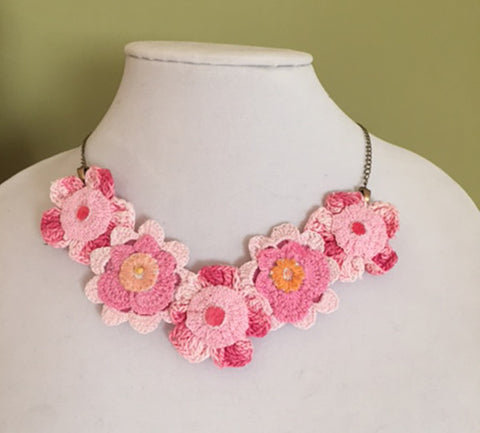 Vintage Lace Necklace - Pink Flowers In A Row