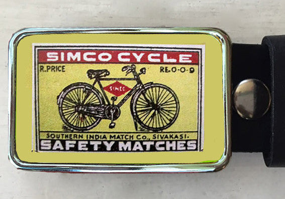 Vintage Green Bicycle Belt Buckle - Red Dove Studios - 1