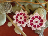Pink Vintage Flower Lace Earrings