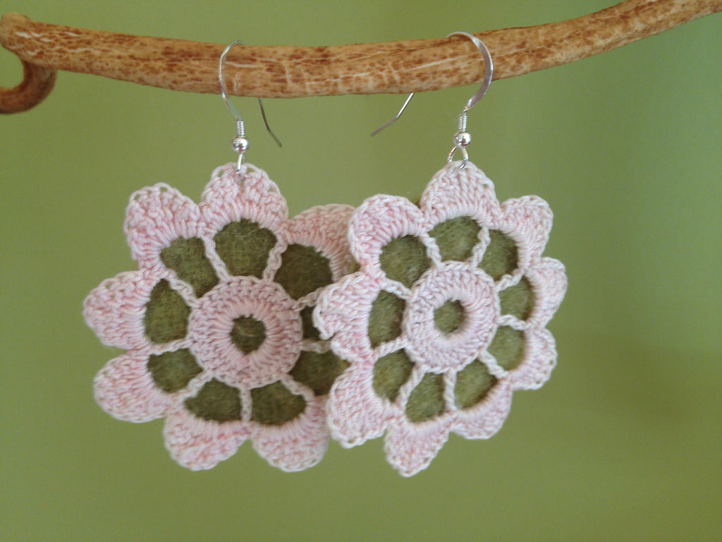 Green and Pink Vintage Flower Lace Earrings