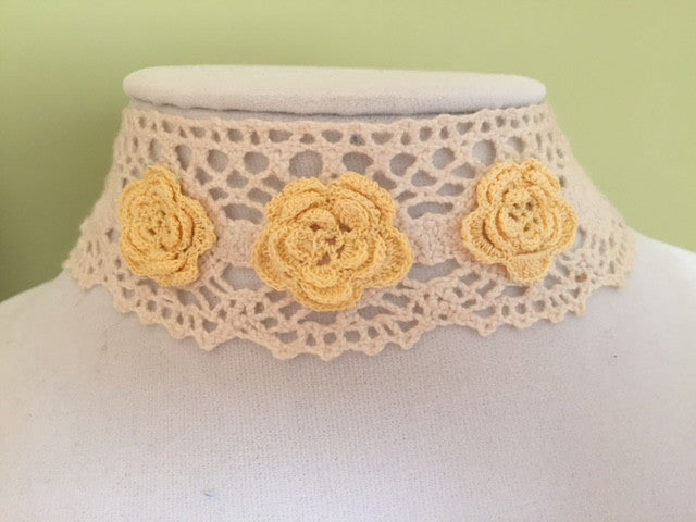 Yellow Flower Choker - Vintage Lace