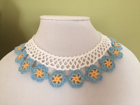 Vintage Necklace Blue Flower Lace