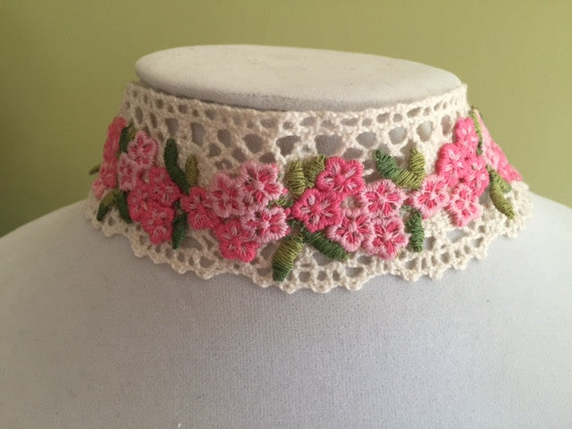 Pink Flower Choker - Vintage Lace