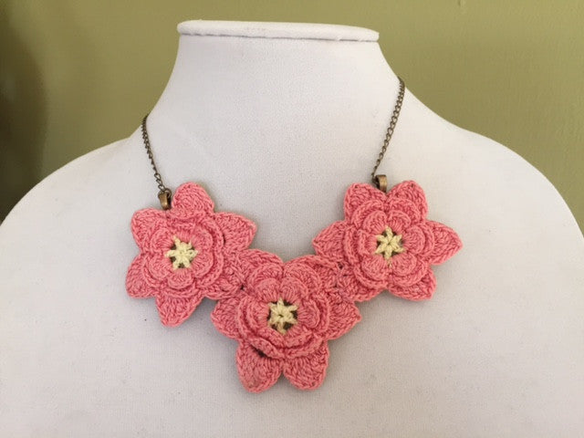 Three Flowered Vintage Lace Necklace