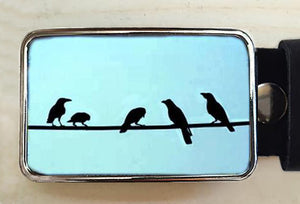 Birds on a Wire Belt Buckle - Red Dove Studios - 1
