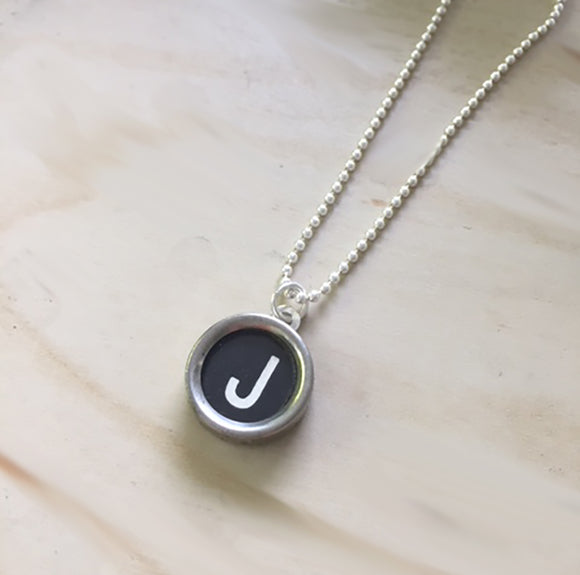Letter J Typewriter Key Jewelry Charm Necklace