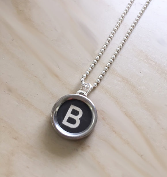 Letter B Typewriter Key Charm Necklace
