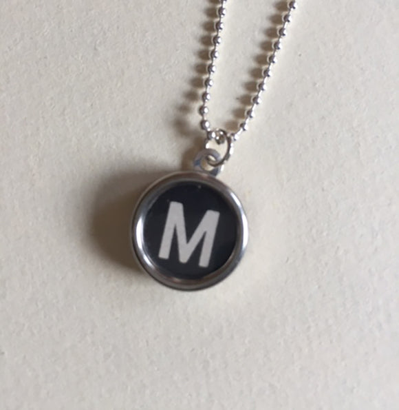 Letter M Typewriter Key Charm Necklace