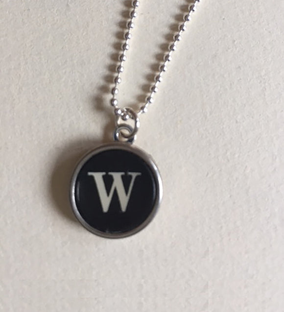 Letter W Sterling Silver Typewriter Necklace