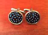 Custom Blue Polka Dot Tin Cufflinks
