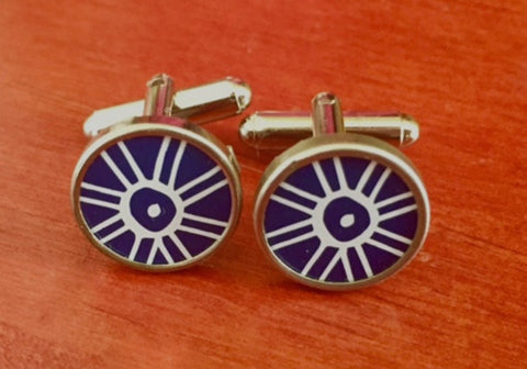 Custom Blue and White Pinwheel Tin Cufflinks.  Men's Cufflinks.  Women's Cufflinks.