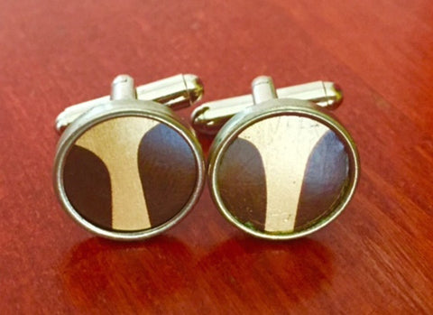 Custom Brown and Gold Tin Cufflinks.  Men's Cufflinks.  Women's Cufflinks.