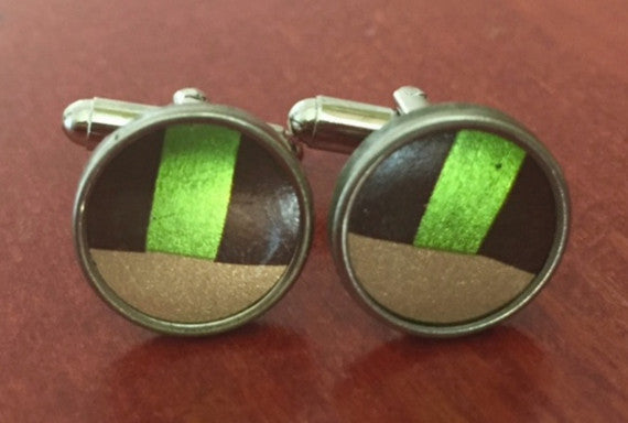 Gold and Dark Green Tin Cufflinks.  Men's Cufflinks.  Women's Cufflinks.