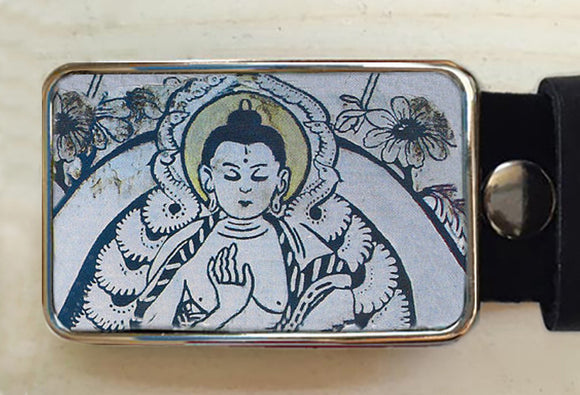 Buddha Blue Belt Buckle - Red Dove Studios - 1