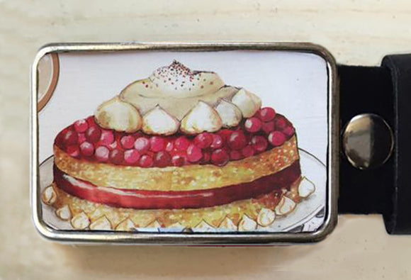 Cake belt buckle!  Vintage tin. - Red Dove Studios - 1