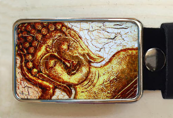 Golden Buddha Belt Buckle - Red Dove Studios - 1