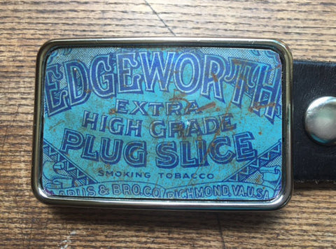 Vintage Chewing Tobacco Tin Belt Buckle - Red Dove Studios - 1