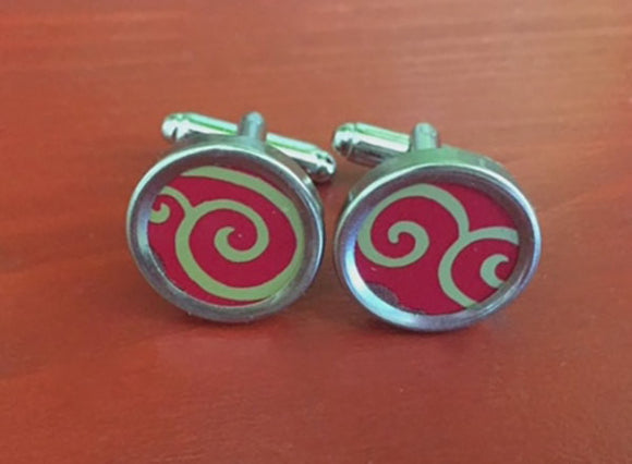 Red and Gold Mens Cufflinks.  Womens cufflinks too.  Great anniversary gift.  Mens birthday gift. - Red Dove Studios - 1