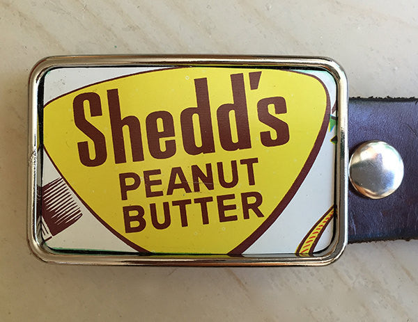 Vintage Peanut Butter Tin Belt Buckle - Red Dove Studios - 1