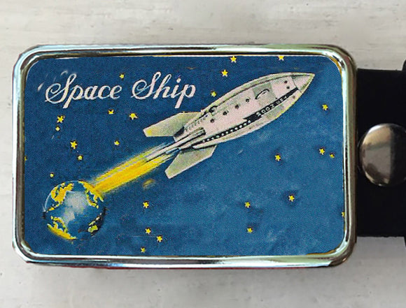 Rocket Ship Belt Buckle - Red Dove Studios - 1