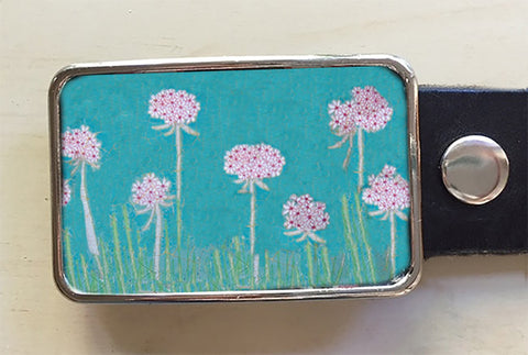 Turquoise Bloom Flower Belt Buckle - Red Dove Studios - 1