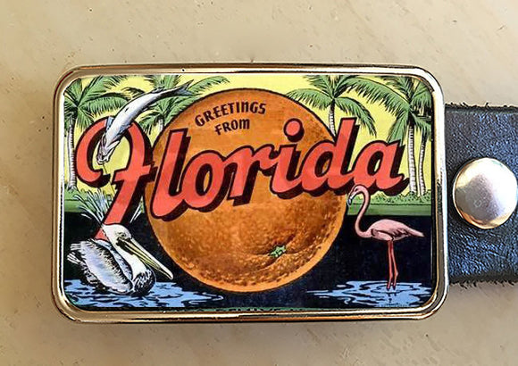 Vintage Florida Belt Buckle - Red Dove Studios - 1