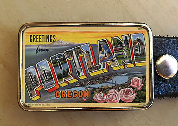 Portland Oregon Art Deco Belt Buckle - Red Dove Studios - 1