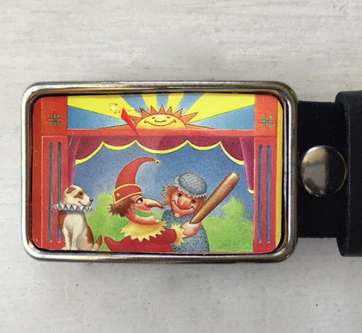 Vintage Tin Puppet Show Belt Buckle - Red Dove Studios - 1