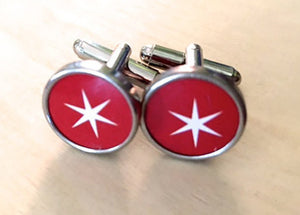 Custom Red Star Vintage Tin Cufflinks - Red Dove Studios - 1