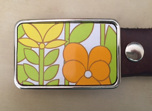 Orange Yellow Tin Flower Belt Buckle - Red Dove Studios - 1
