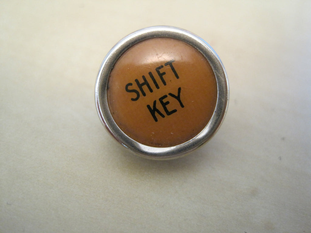 Unisex Shift  Pin or Tie Tack. Recycled Typewriter Key Jewelry. Divorce.Teacher. - Red Dove Studios - 1