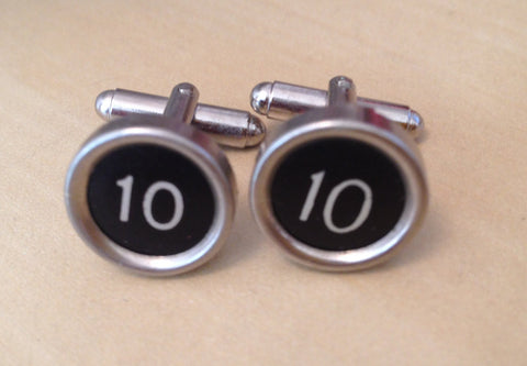 Number 10 Antique Typewriter Key Cufflinks.  Rare! - Red Dove Studios - 1