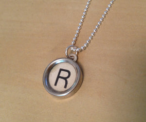Letter R Antique Typewriter Key Necklace - Red Dove Studios - 1
