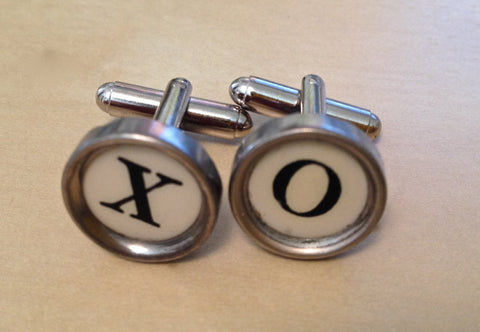 Letters XO Custom Typewriter Key Jewelry Cufflinks NO GLUE! - Red Dove Studios - 1