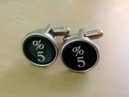 Number 5 Typewriter Key Jewelry Cufflinks. No GLUE! - Red Dove Studios - 1