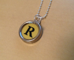 Letter R Vintage  Typewriter Jewelry Charm Necklace - Yellow - Red Dove Studios - 1