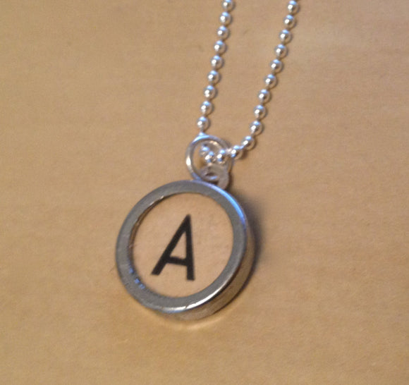 Letter A Typewriter Key Charm Necklace - Red Dove Studios - 1