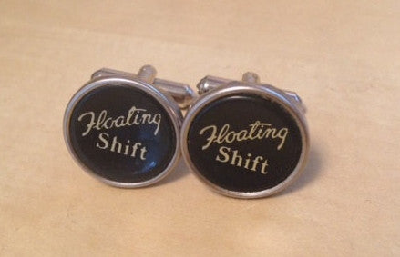 Vintage Floating Shift Typewriter Jewelry Cufflinks - No Glue - Red Dove Studios - 1