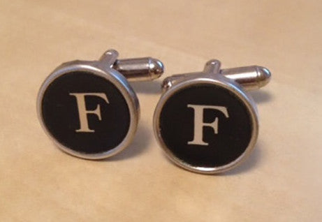 Letter F Typewriter Key Jewelry Cufflinks - Red Dove Studios - 1