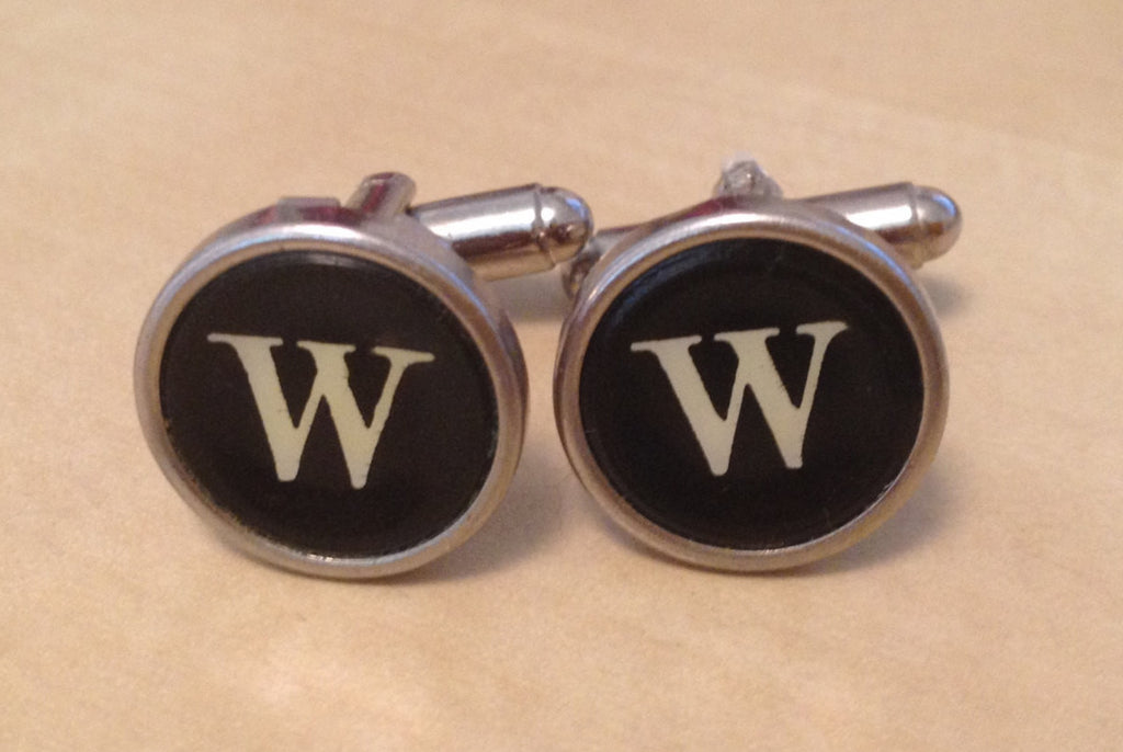 Letter W Typewriter Key Jewelry Cufflinks. NO GLUE! - Red Dove Studios - 1