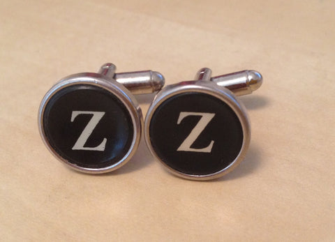 Letter Z Antique Typewriter Cufflinks. NO GLUE. - Red Dove Studios - 1