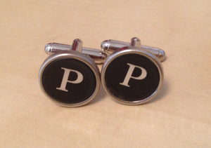 Letter P Typewriter Jewelry Cufflinks. NO GLUE! - Red Dove Studios - 1