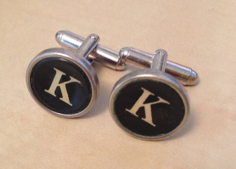 Letter K Typewriter Cufflinks - No Glue - Red Dove Studios - 1